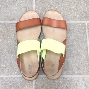 Brown Leather and Neon Sandals